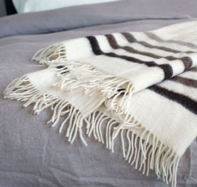 100% Wool Multi Stripe Throw from Bambeco