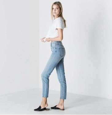 DSTLD Women's High Waisted Mom Jeans in Light Wash, $85