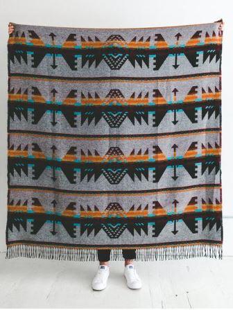 Sackcloth & Ashes Arrow Maroon Blanket, $99