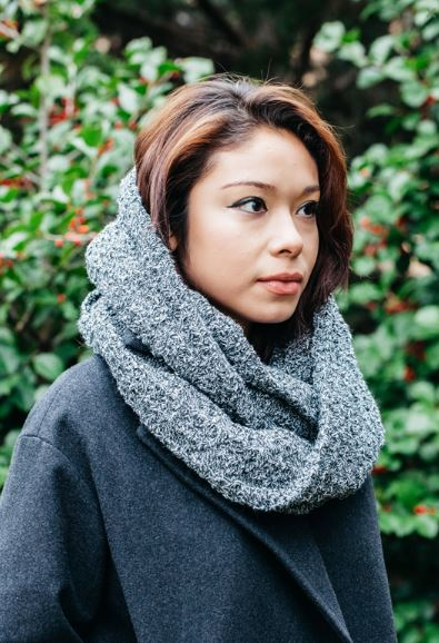 Twice As Warm Circle of Warmth - Marled Black Chunky Knit Infinity Scarf, $37