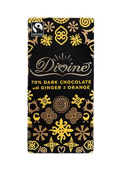 Divine Chocolate Dark Chocolate with Ginger & Orange, Photo Credit Divine Chocolate