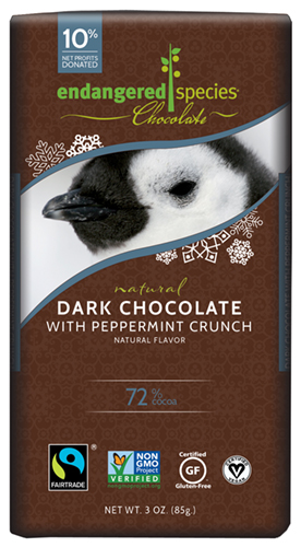 Endangered Species Chocolate Dark Chocolate with Peppermint Crunch Bar, Photo Credit: Endangered Species Chocolate