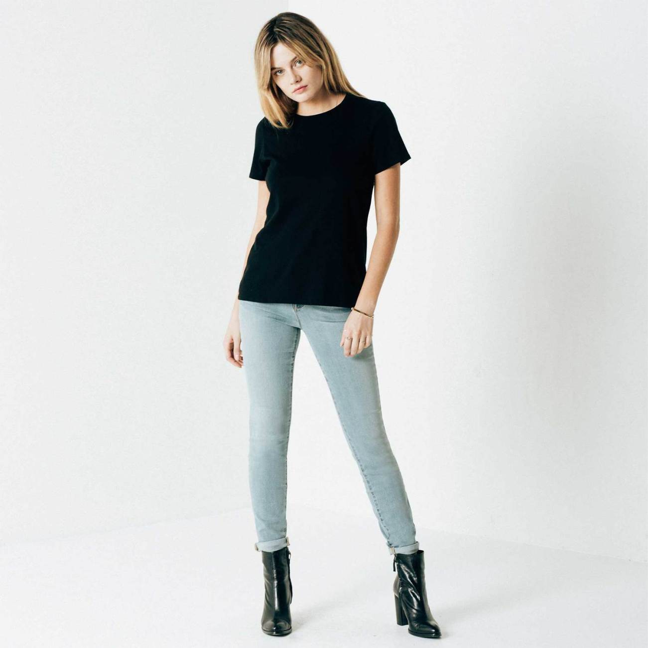 DSTLD Women's Mid Rise Skinny Jean in Light Vintage, $85, Photo Cred: DSTLD