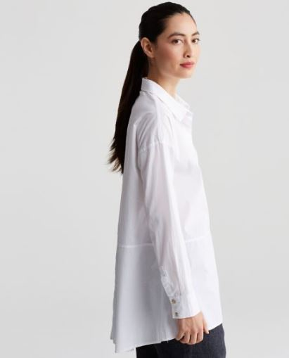 Eileen Fisher Organic Cotton Stretch Lawn Classic Collar Oversized Shirt, $198, Photo Cred: Eileen Fisher