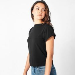AEON ROW Black Roll-Cuff Tee, $28, Photo Cred: Aeon Row