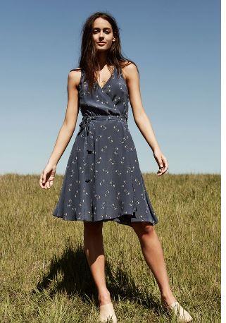 Amour Vert Brandy Silk Wrap Dress, $188