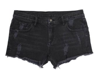 DSTLD Women's Ripped Mid Rise Shorts in Faded Black, $75