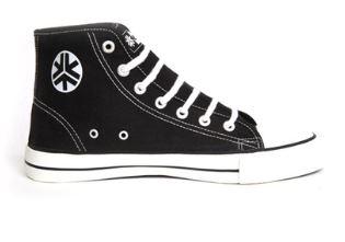 Etiko Organic Fairtrade Sneakers Hitops Black and White, $71.50 Photo Cred: Etiko