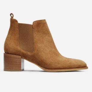 Everlane Suede Heel Boot in Chestnut, $225, Photo Cred: Everlane