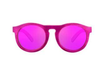 Sustainable Facewear O-Face Skateboard Wood Sunglasses in PInk Mirror, $119, Photo Cred: SBOJi