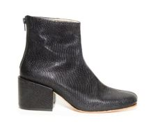 ZouXou Block-Heeled Boot in Black Embossed Snake, $295, Photo Cred: ZouXou