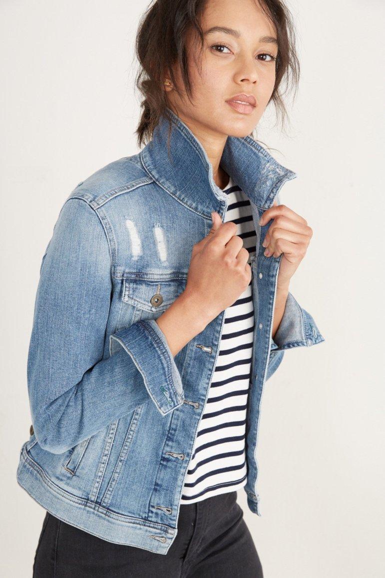 Amour Vert Denim Jacket in Worn Blue, $228, Photo Cred Amour Vert