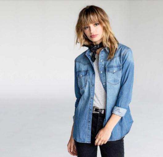 DSTLD Womens Denim Button Shirt In Light Vintage, $85