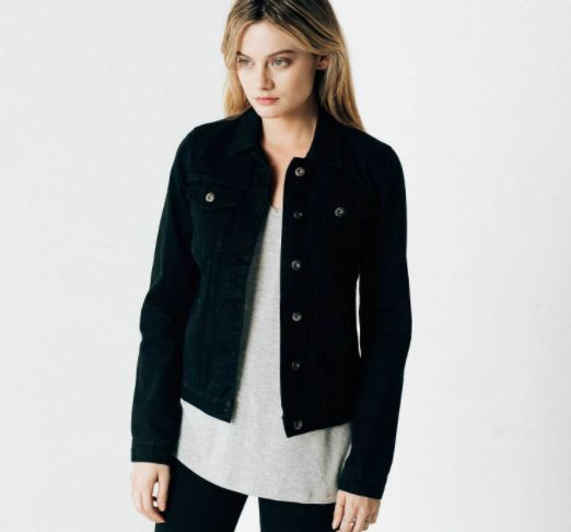 DSTLD Women's Denim Jacket in Black Rinse, $65, Photo Cred DSTLD