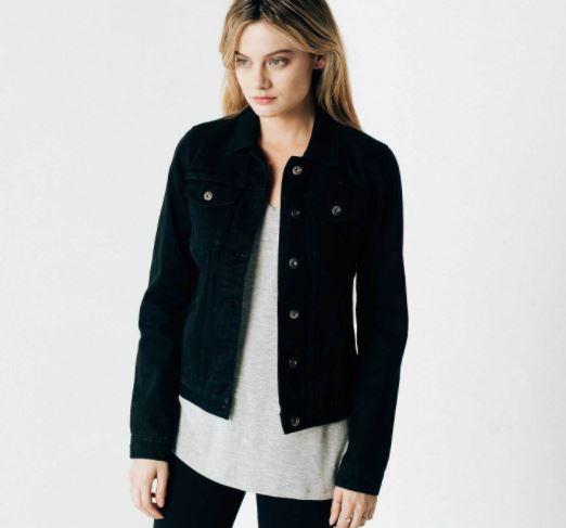 DSTLD Women's Denim Jacket in Black Rinse, $65, Photo Cred DSTLD