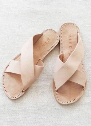 Minda Living Peace Blush Leather Slide Sandals, $78 from Accompany, Photo Cred: Accompany