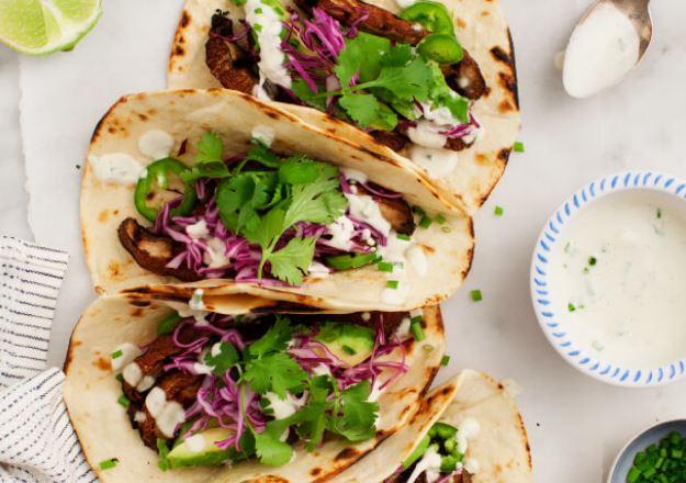 Portobello Tacos with Vegan Jalepeno Sause from Love & Lemons