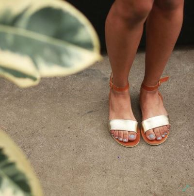 Seeko Designs Caramel & Gold Rue Ankle Strap Sandal, $64.99, Photo Cred: Sseko