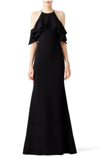 Badgley Mischka Black Crossover Ruffle Gown, $95-$115 from Rent the Runway