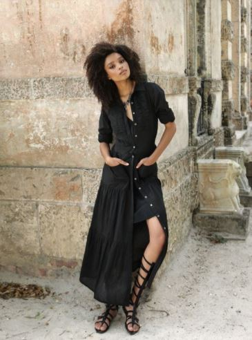 Khadi Tiered Dress in Black by Indigo Handloom, $250 from Modavanti