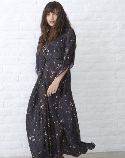 Ocean + Main Watercolor Silk Long Caftan Maxi in Chocolate, $335