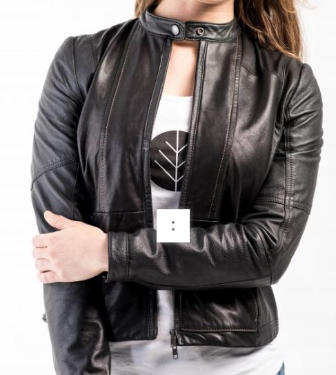 Better World Fashion Dayna Vintage Biker Jacket, $416, Photo Cred Better World Fashion