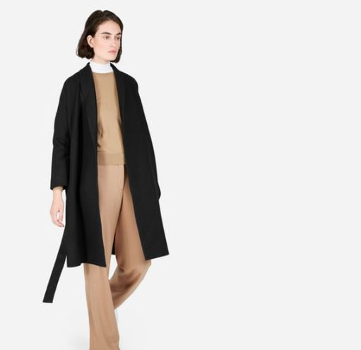 Everlane The Belted Wool Shawl Coat, on sale for $186, Photo Cred Everlane