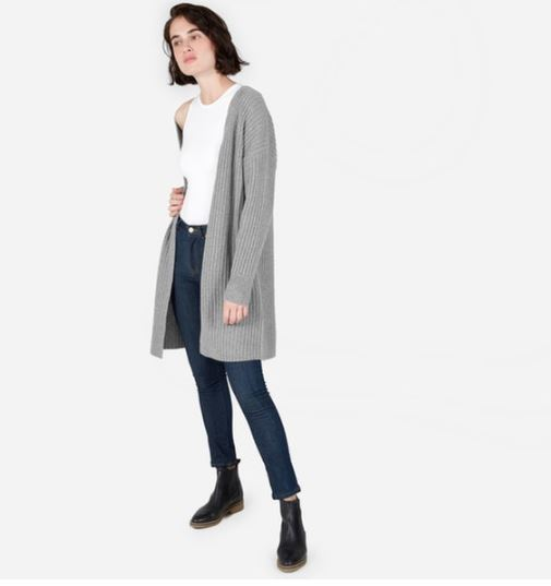 Everlane The Ribbed Wool-Cashmere Oversized Cardigan, $140, Photo Cred Everlane