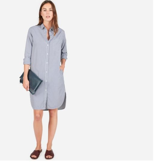 Everylane The Cotton Pocket Shirt Dress, $78, Photo Cred Everlane