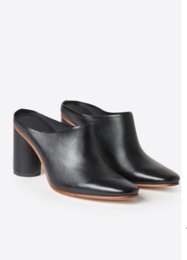Rachel Comey Scarpa Polished Black Mules, on sale for $247.95 from Accompany, Photo Cred Accompany