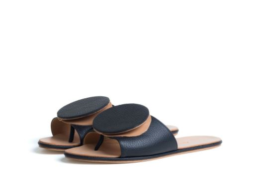 The Palatines Caeleste Slide Sandal in Black Pebbled-Tan Smooth Leather, $350, Photo Cred The Palatines