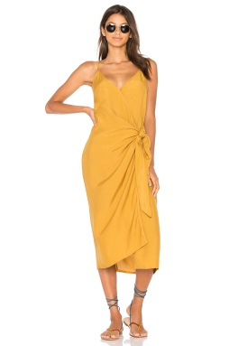 Faithfull the Brand Juel Midi Dress in Plain Mustard, $165 from REVOLVE