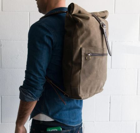 Half Light Bindery Waxed Canvas Roll Top Backpack from Kaufmann Mercantile, Photo Cred Kaufmann Mercantile