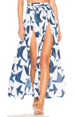 Mara Hoffman Slit Front Skirt in Navy White, $196 from REVOLVE