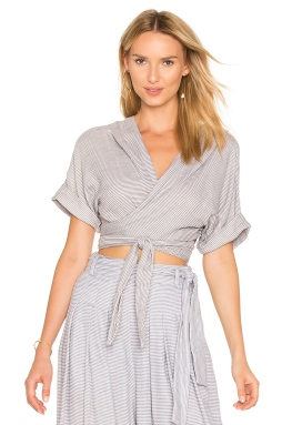 Mara Hoffman Tie Front Top in Grey, $194 from REVOLVE