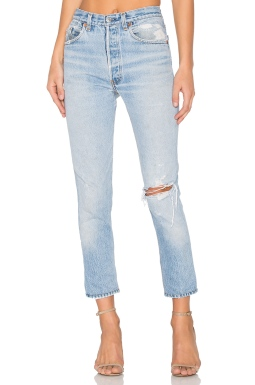 REDONE Levis High Rise Ankle Crop in Indigo, $325 from REVOLVE