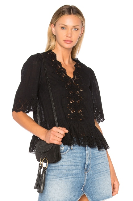 Ulla Johnson Hedda Blouse in Noir, $310 from REVOLVE