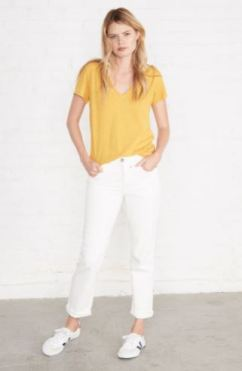 Amour Vert Joline V-Neck Slub Tee in Sunflower, $42, Photo Cred Amour Vert