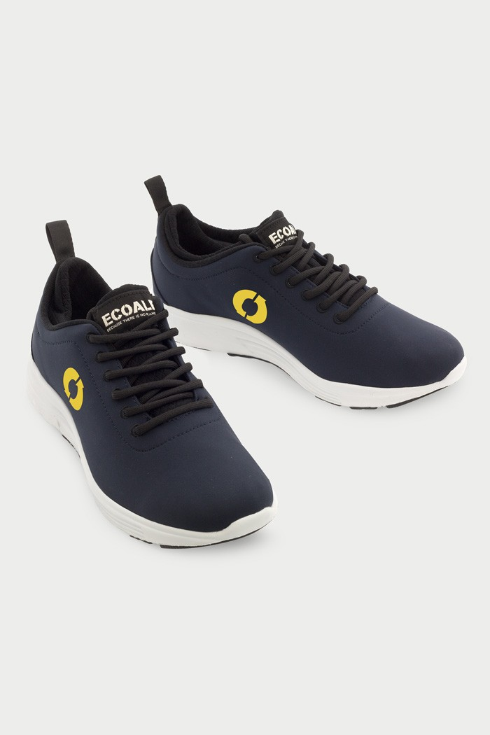 Ecoalf California Sneakers in Midnight Navy Yellow, $95, Photo Cred Ecoalf