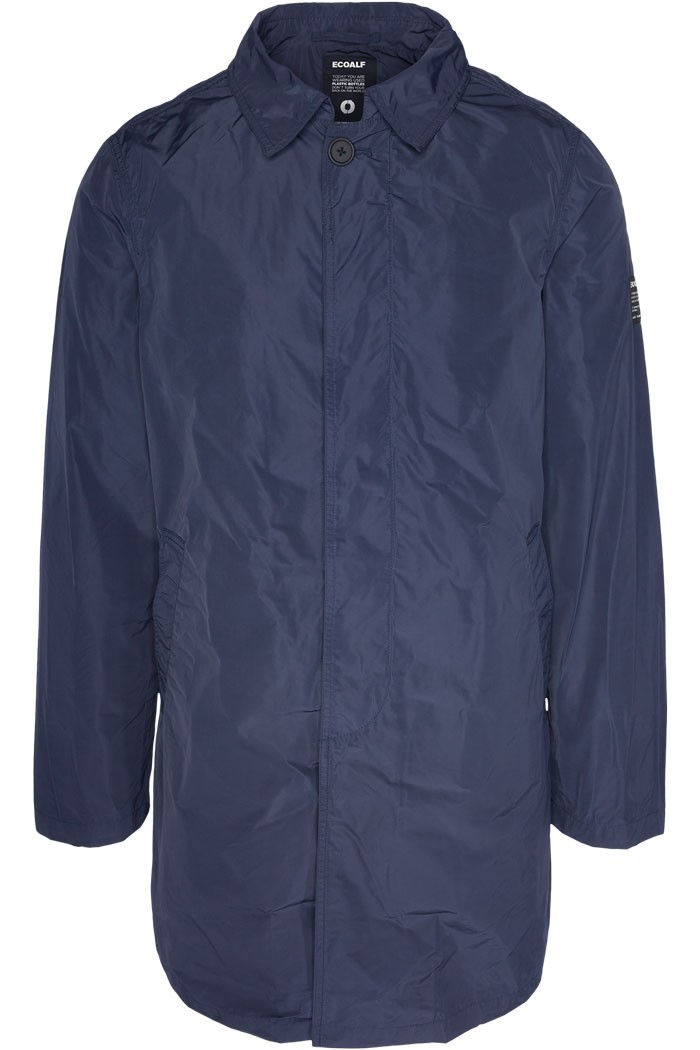 Ecoalf Liverpool Men's Padded Lining Trench Coat in Deep Navy, $331, Photo Cred Ecoalf