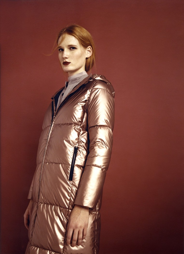 Ecoalf Madison Women's Extra Long Puffer Coat in Bronze, $359, Photo Cred Ecoalf