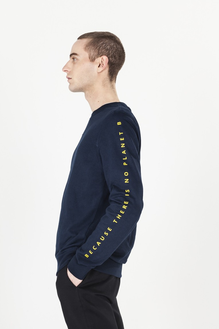 Ecoalf San Diego Long Sleeve Lettering Sweatshirt in Midnight Navy, $95, Photo Cred Ecoalf