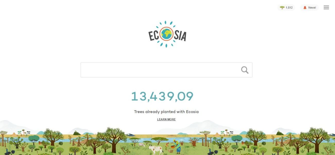 Ecosia Search Engine, Photo Cred Ecosia