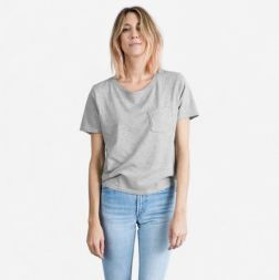 Everlane The Cotton Box-Cut Pocket Tee, $18, Photo Cred Everlane