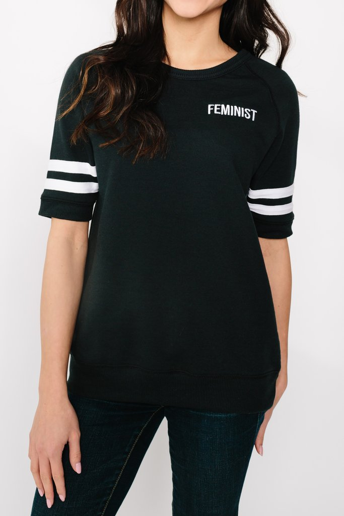 Feminist Black Short Sleeve Sweatshirt from My Sister, $68, PHoto Cred My Sister