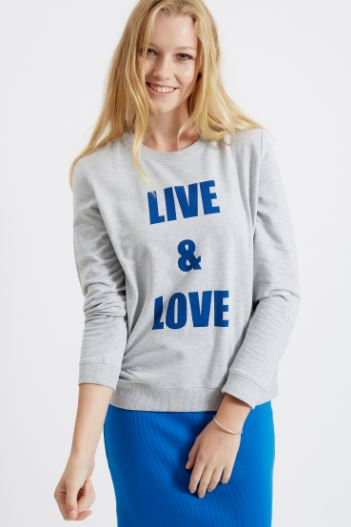 Live & Love Sweatshirt in Grey Melange from People Tree, on sale for $32.40, Photo Cred People Tree
