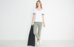 Marine Layer Varsity Stripe Tee in Snow White, $44, Photo Cred Marine Layer
