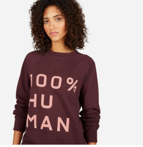 The Human Woman Unisex French Terry Sweatshirt in Large Print from Everlane, $50, Photo Cred Everlane