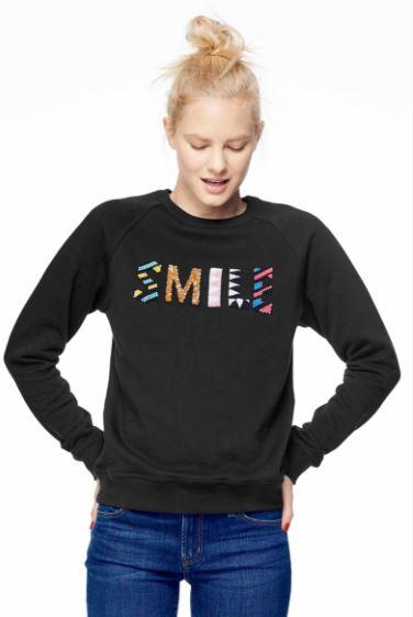 Uzma Bozai SMILE Black Beaded Sweatshirt from Accompany, $195, Photo Cred Accompany